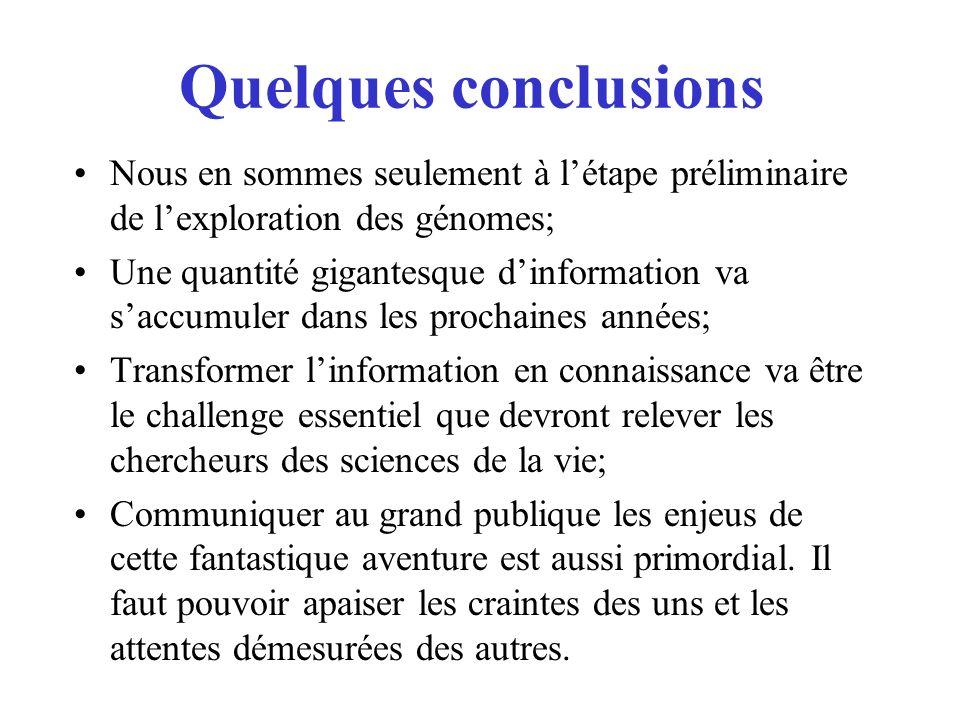 Quelques conclusions Nous en sommes seulement à l'étape préliminaire de l'exploration des génomes;
