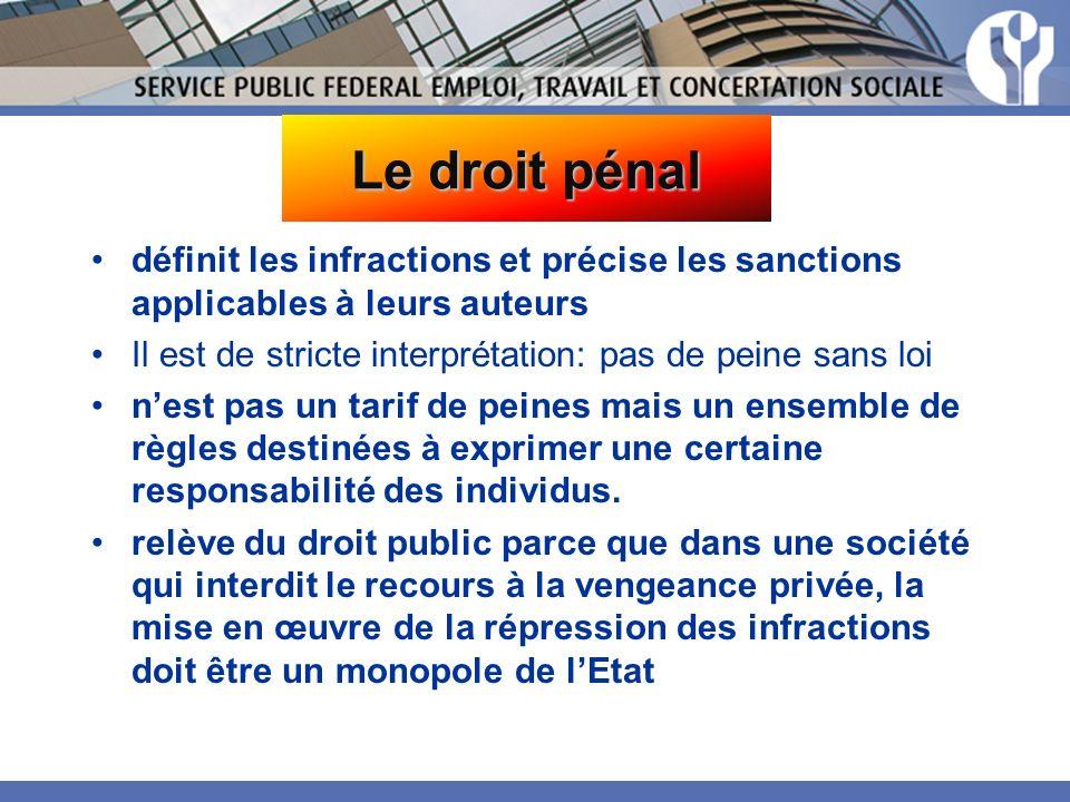 Le droit pénal définit les infractions et précise les sanctions applicables à leurs auteurs. Il est de stricte interprétation: pas de peine sans loi.