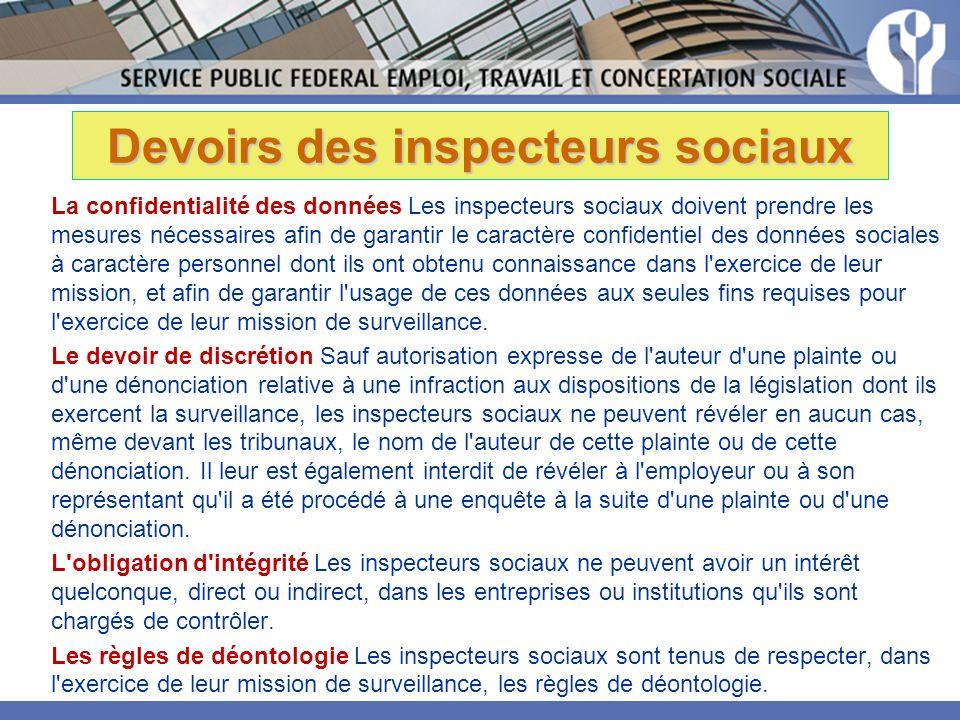 Devoirs des inspecteurs sociaux