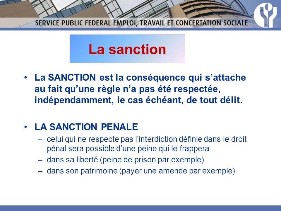 La sanction La SANCTION est la conséquence qui s'attache au fait qu'une règle n'a pas été respectée, indépendamment, le cas échéant, de tout délit.