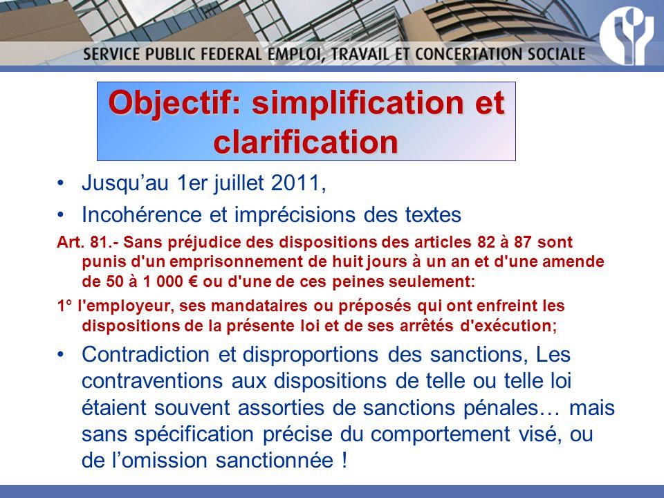 Objectif: simplification et clarification