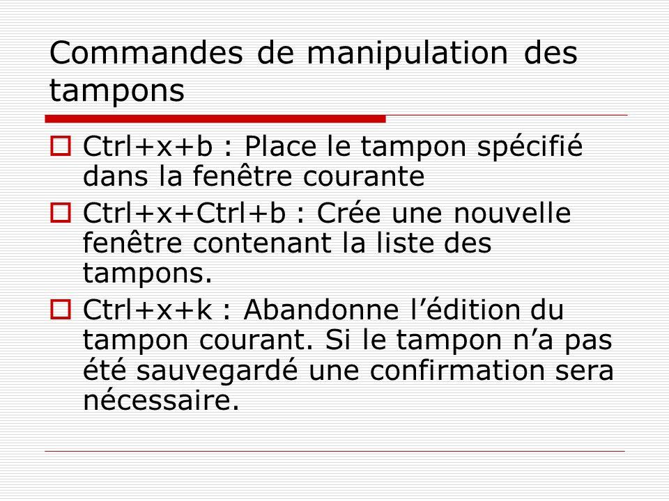 Commandes de manipulation des tampons