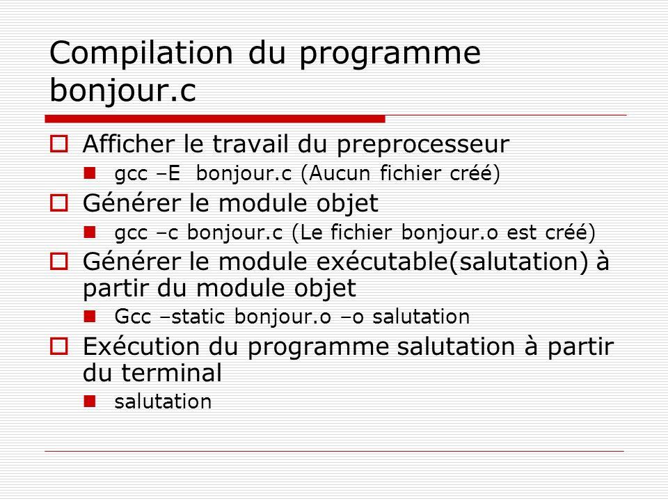Compilation du programme bonjour.c