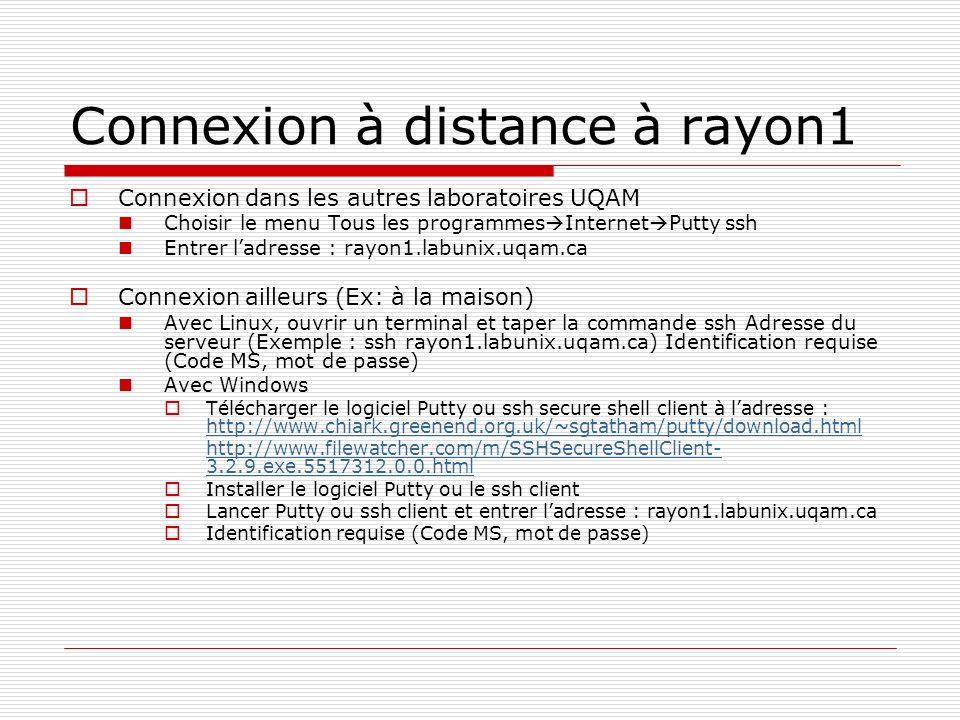Connexion à distance à rayon1