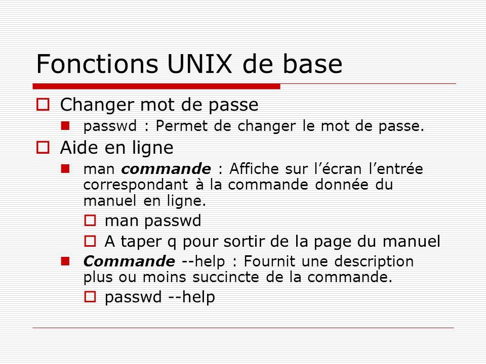 Fonctions UNIX de base Changer mot de passe Aide en ligne man passwd