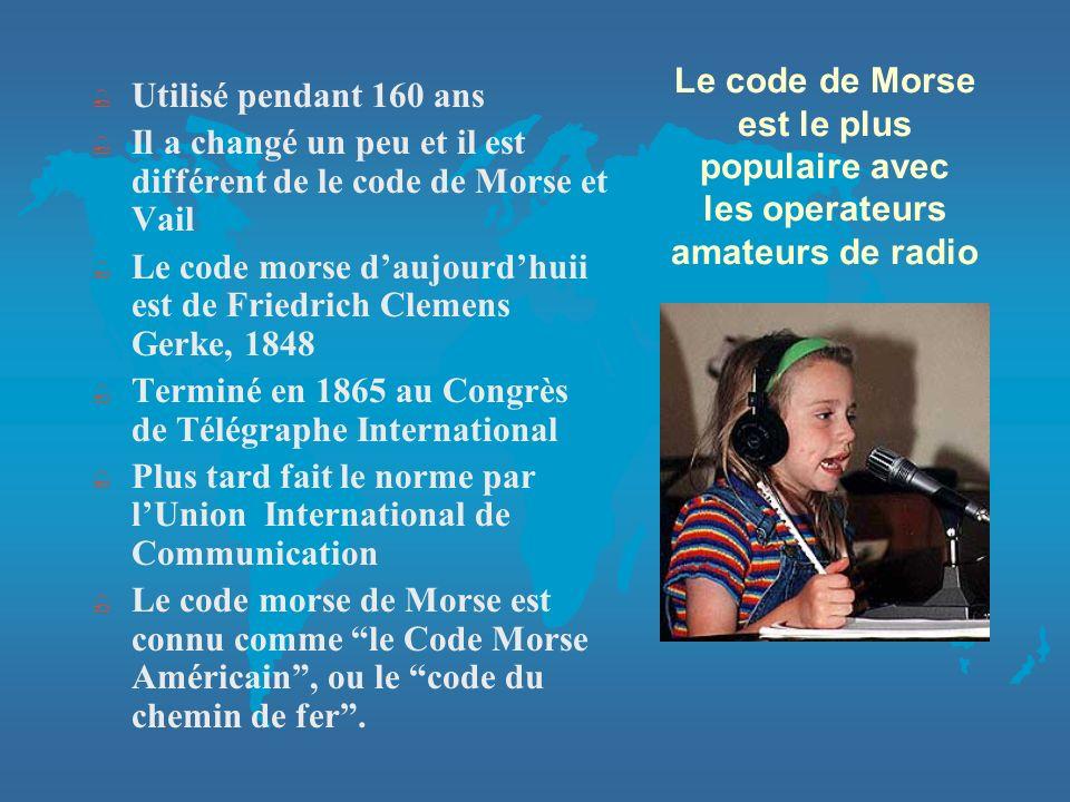 Utilisé pendant 160 ans Il a changé un peu et il est différent de le code de Morse et Vail.