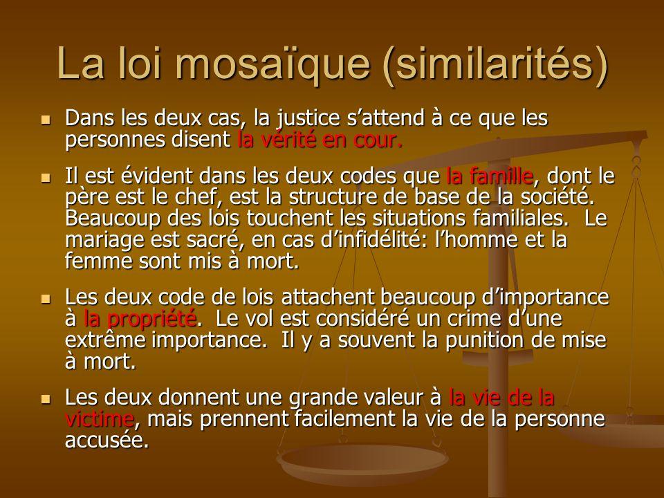 La loi mosaïque (similarités)