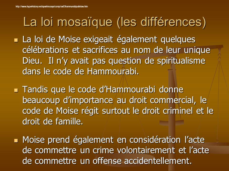 La loi mosaïque (les différences)