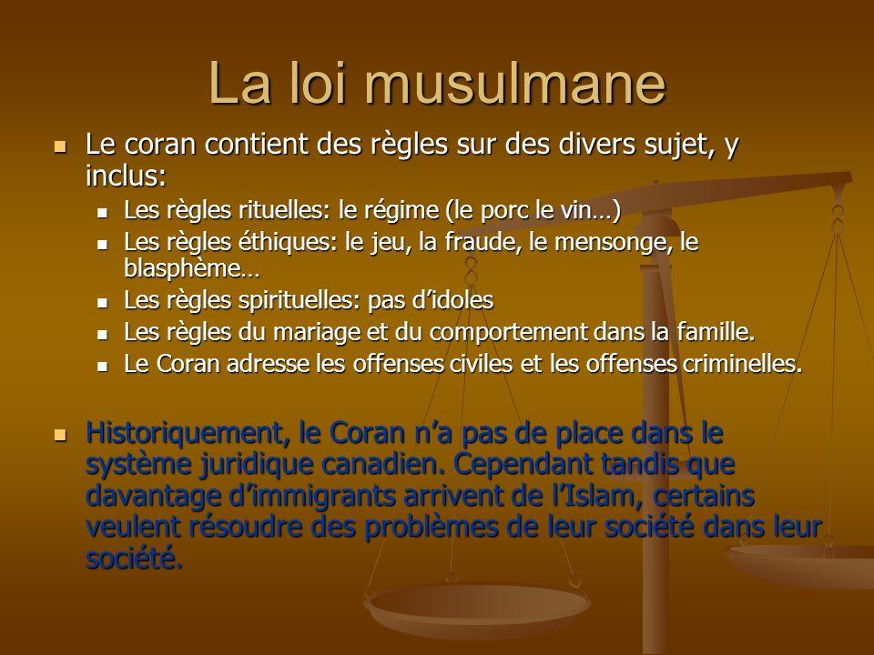 La loi musulmane Le coran contient des règles sur des divers sujet, y inclus: Les règles rituelles: le régime (le porc le vin…)