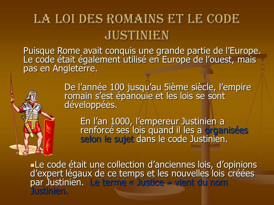 La loi des Romains et le code justinien