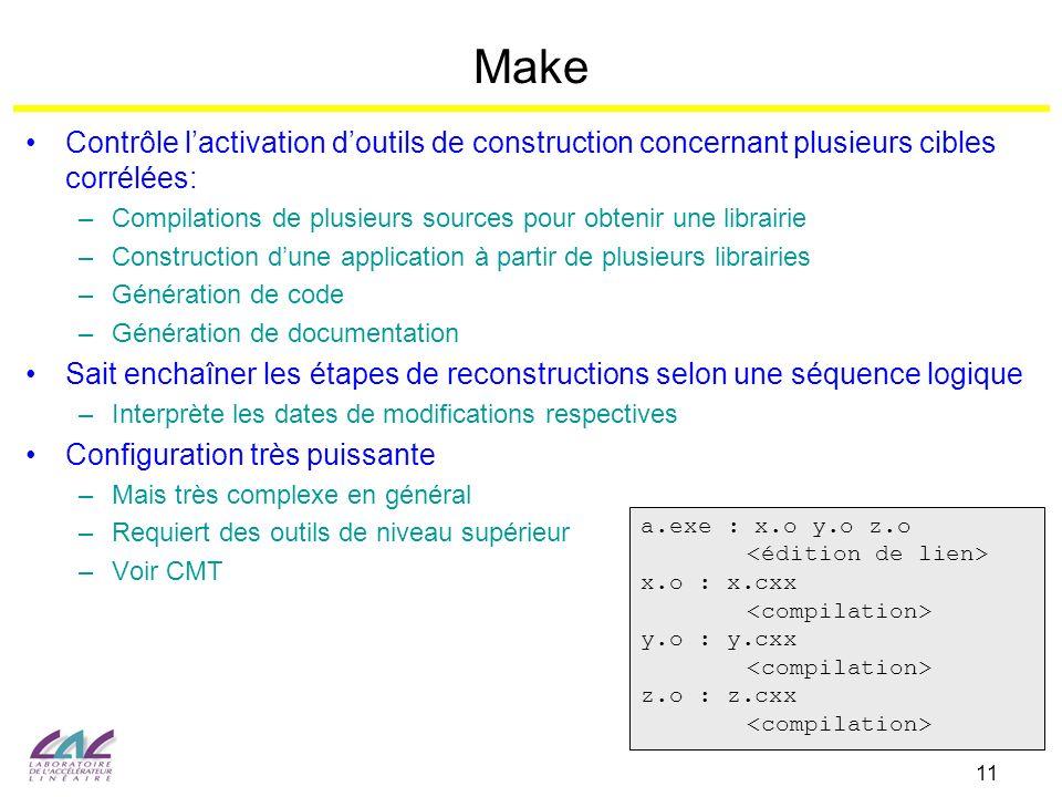 Make Contrôle l'activation d'outils de construction concernant plusieurs cibles corrélées: