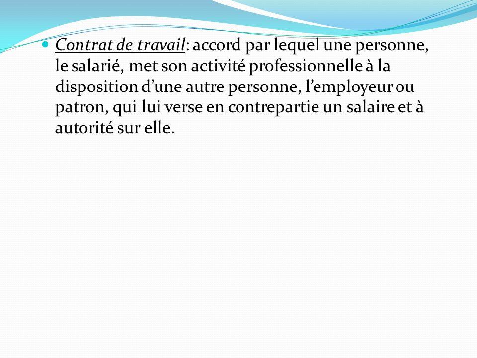 Contrat de travail: accord par lequel une personne, le salarié, met son activité professionnelle à la disposition d'une autre personne, l'employeur ou patron, qui lui verse en contrepartie un salaire et à autorité sur elle.
