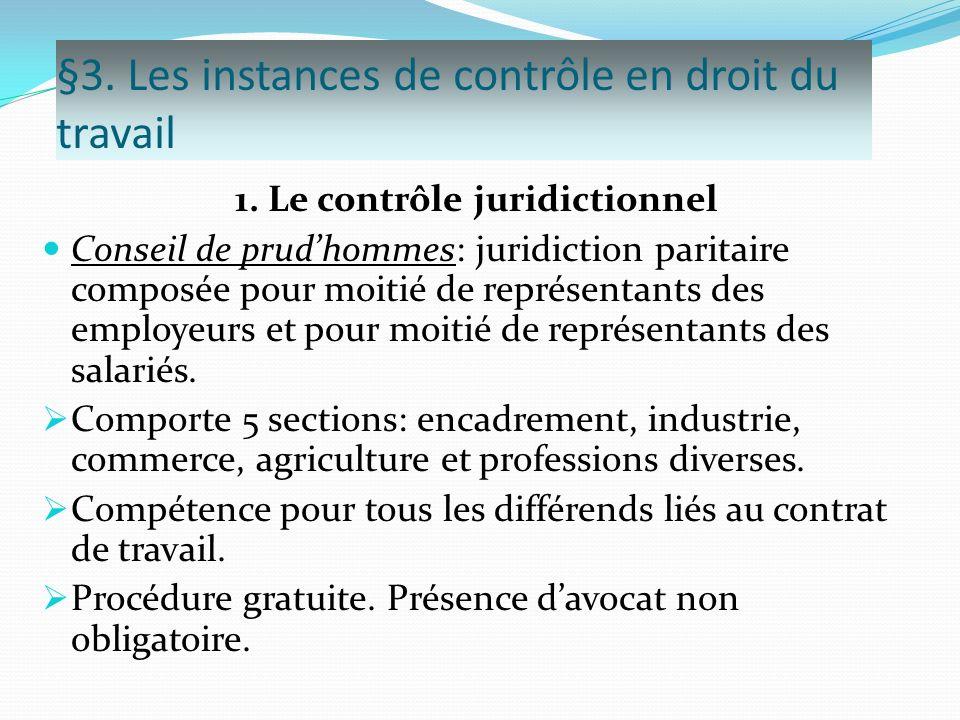 §3. Les instances de contrôle en droit du travail