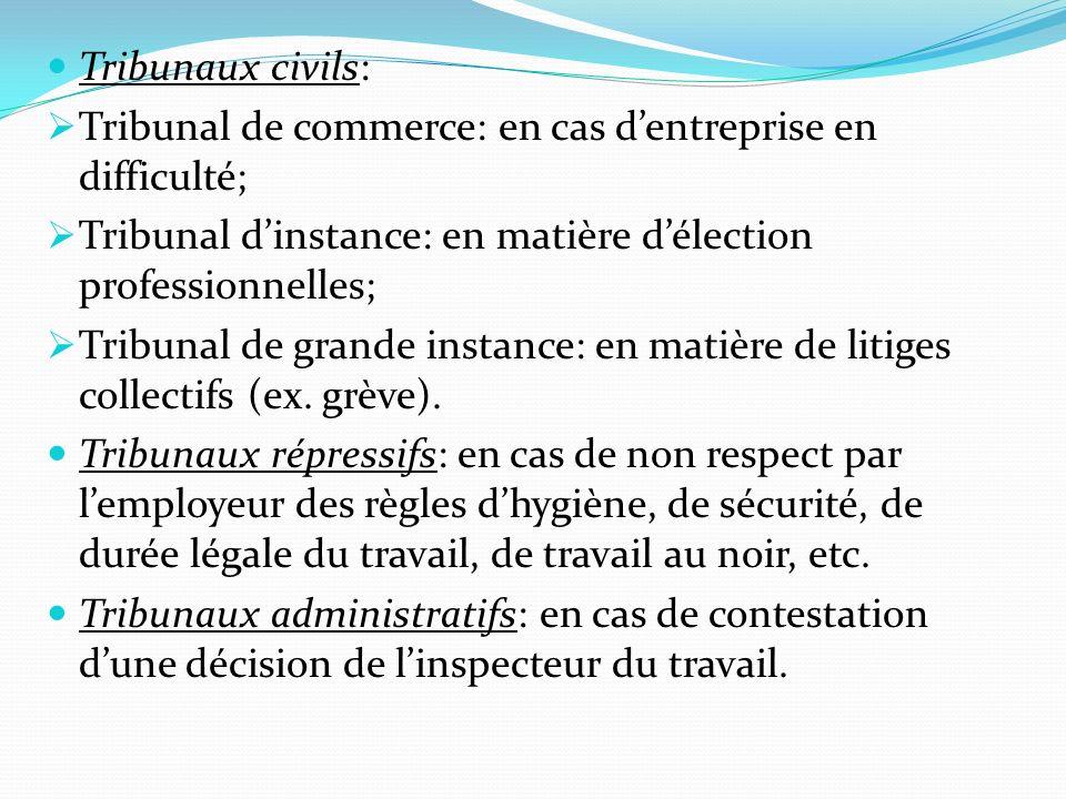 Tribunaux civils: Tribunal de commerce: en cas d'entreprise en difficulté; Tribunal d'instance: en matière d'élection professionnelles;