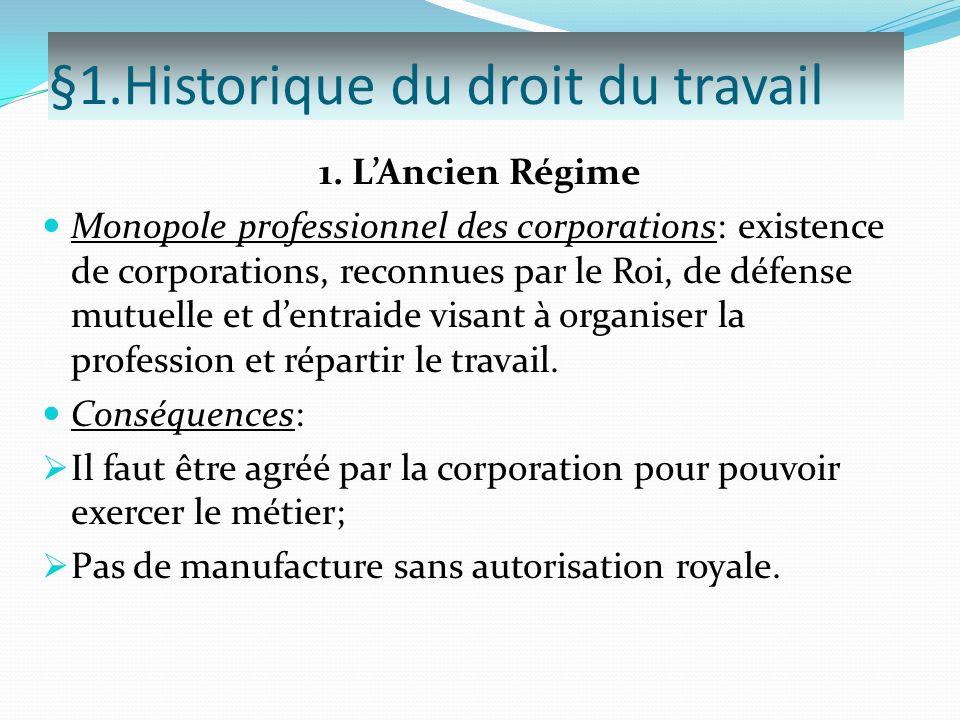 §1.Historique du droit du travail