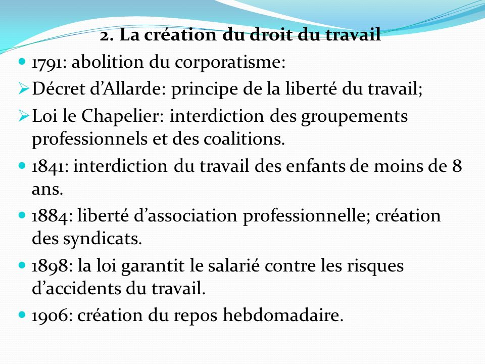 2. La création du droit du travail