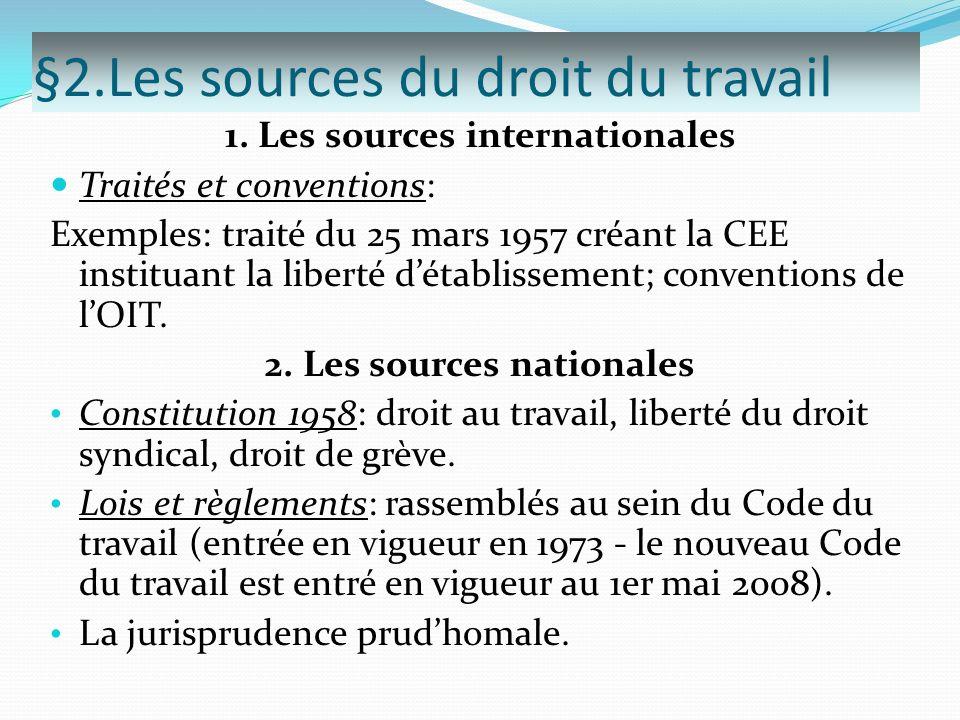 §2.Les sources du droit du travail