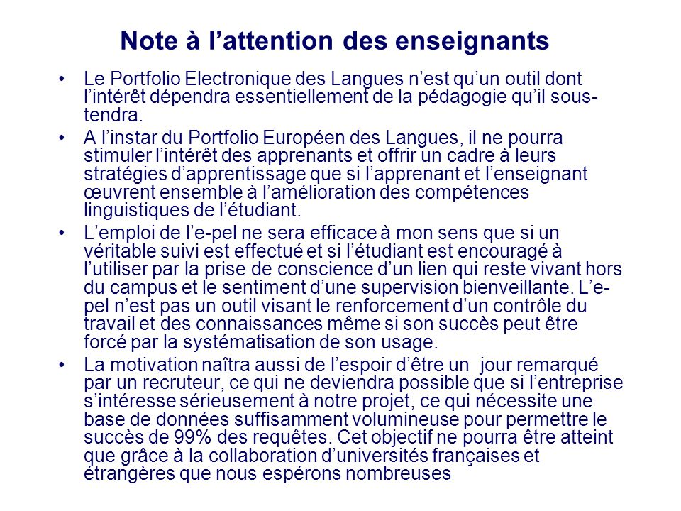 Note à l'attention des enseignants