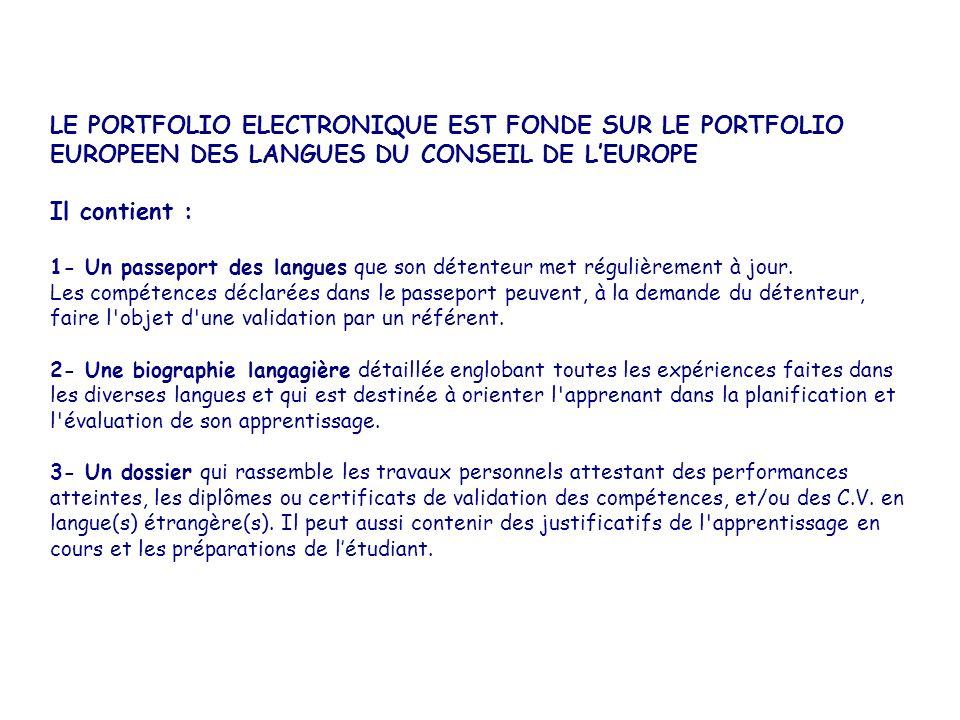 LE PORTFOLIO ELECTRONIQUE EST FONDE SUR LE PORTFOLIO EUROPEEN DES LANGUES DU CONSEIL DE L'EUROPE Il contient : 1- Un passeport des langues que son détenteur met régulièrement à jour.