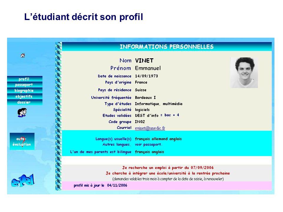 L'étudiant décrit son profil