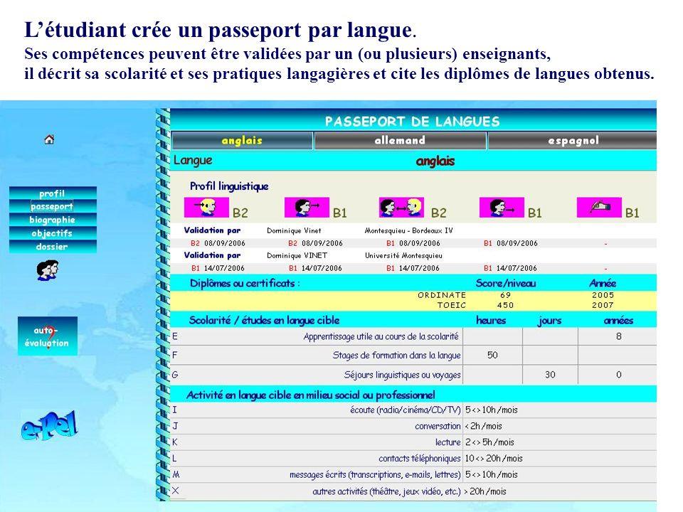 L'étudiant crée un passeport par langue.