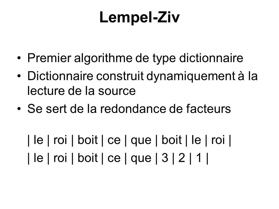 Lempel-Ziv Premier algorithme de type dictionnaire