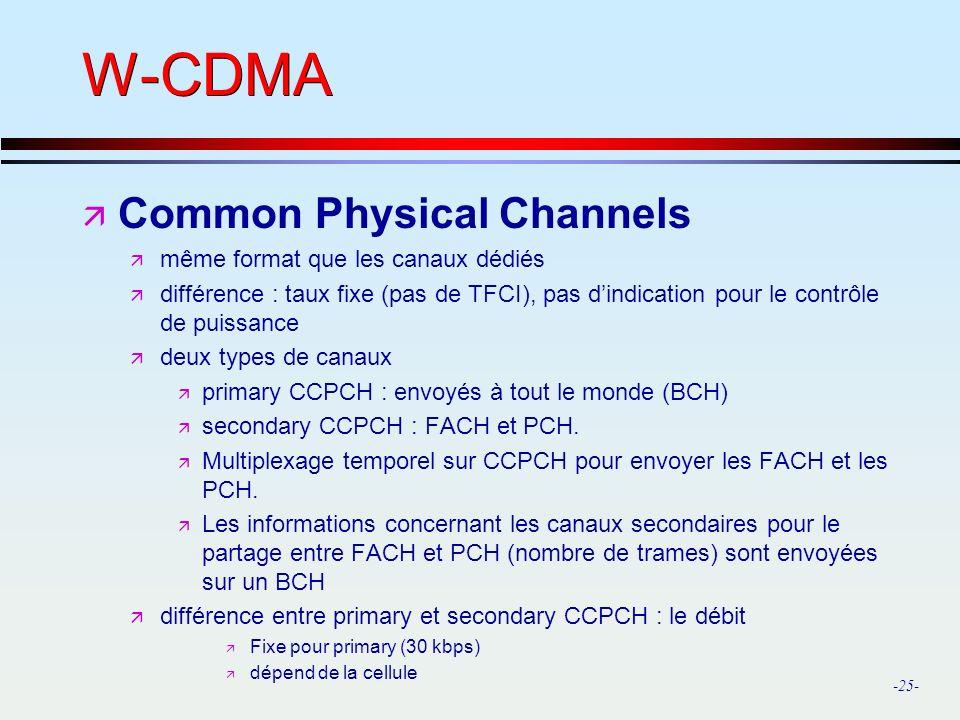 W-CDMA Common Physical Channels même format que les canaux dédiés