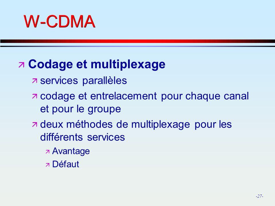 W-CDMA Codage et multiplexage services parallèles