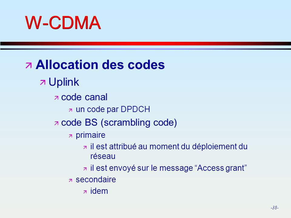 W-CDMA Allocation des codes Uplink code canal