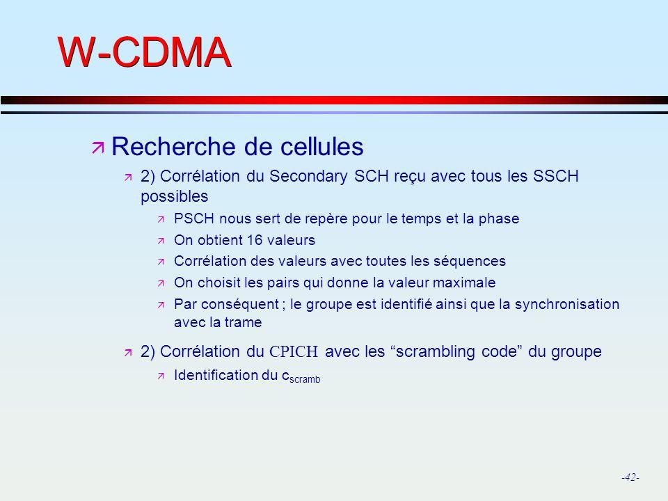 W-CDMA Recherche de cellules