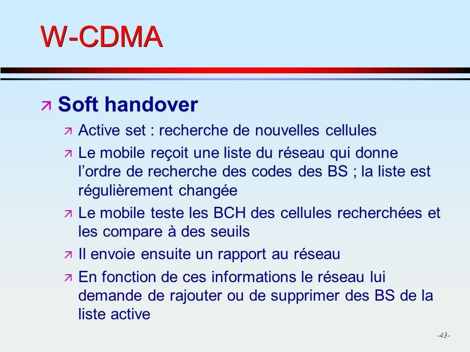 W-CDMA Soft handover Active set : recherche de nouvelles cellules