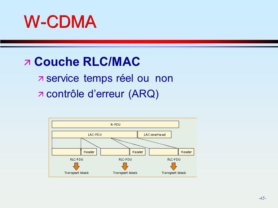 W-CDMA Couche RLC/MAC service temps réel ou non