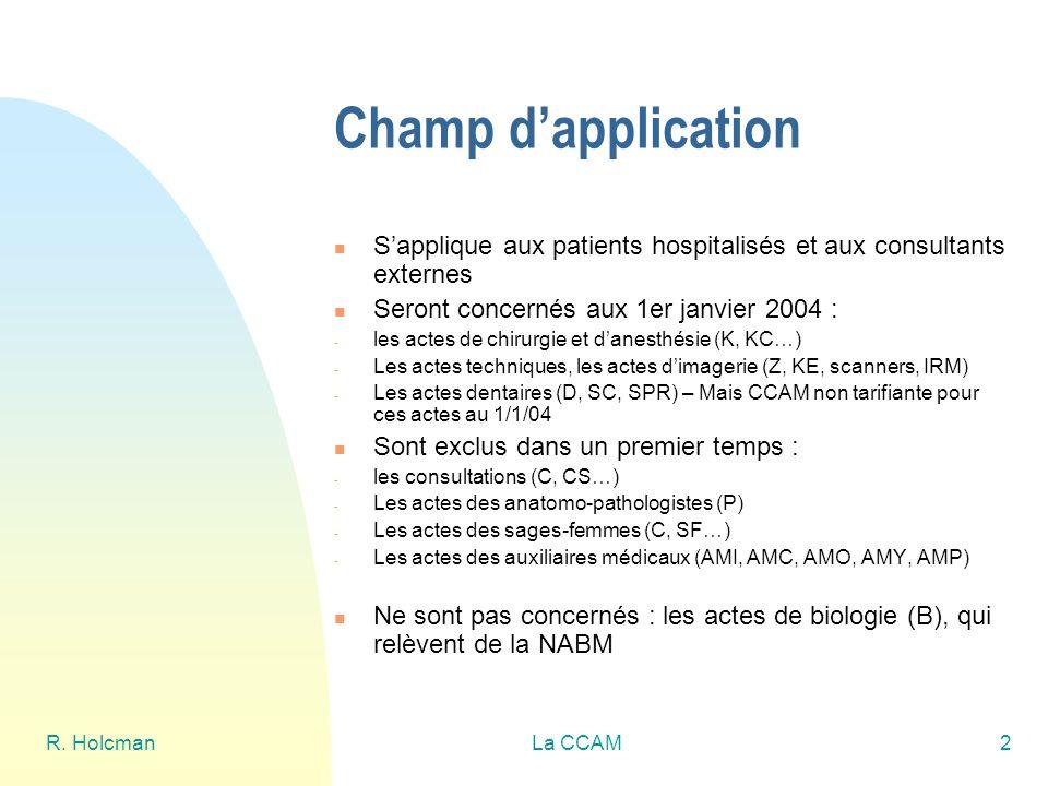 Champ d'application S'applique aux patients hospitalisés et aux consultants externes. Seront concernés aux 1er janvier 2004 :