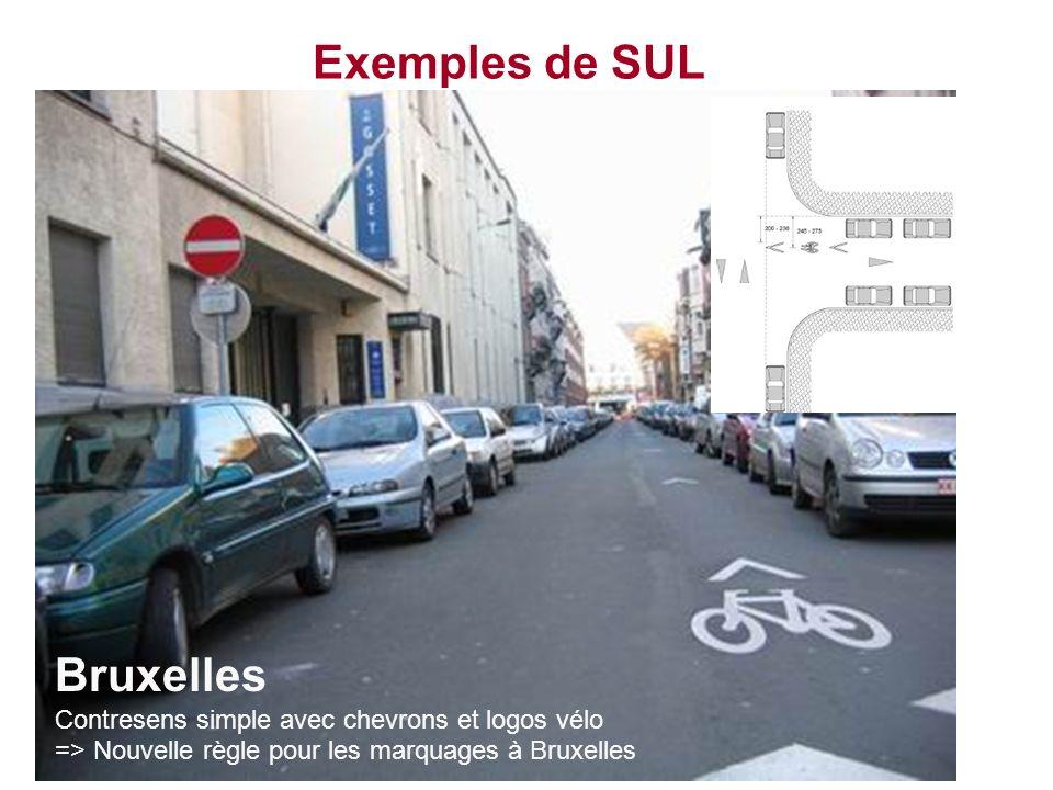 Exemples de SUL Bruxelles Contresens simple avec chevrons et logos vélo => Nouvelle règle pour les marquages à Bruxelles.