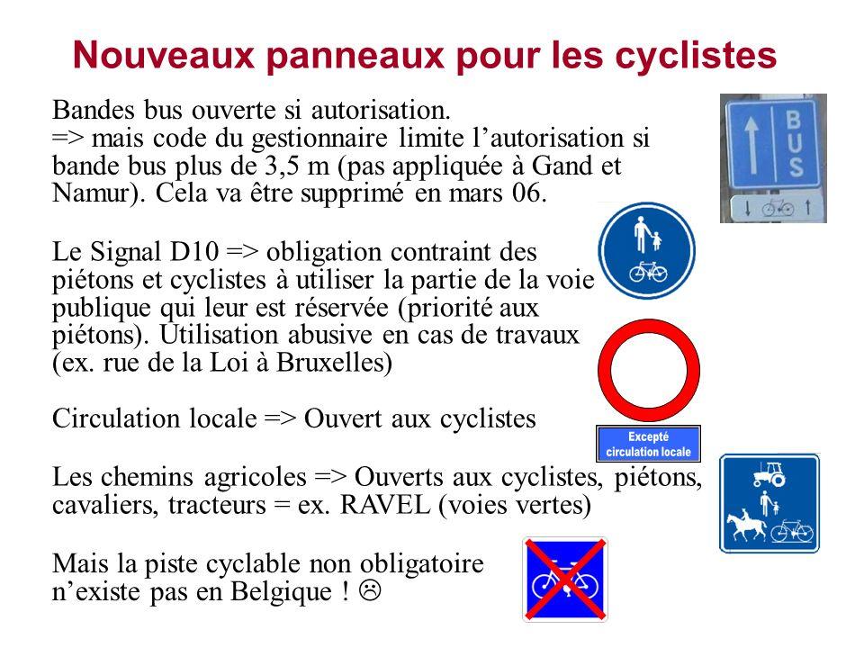 Nouveaux panneaux pour les cyclistes
