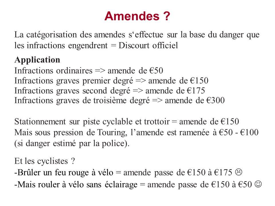 Amendes La catégorisation des amendes s'effectue sur la base du danger que les infractions engendrent = Discourt officiel.
