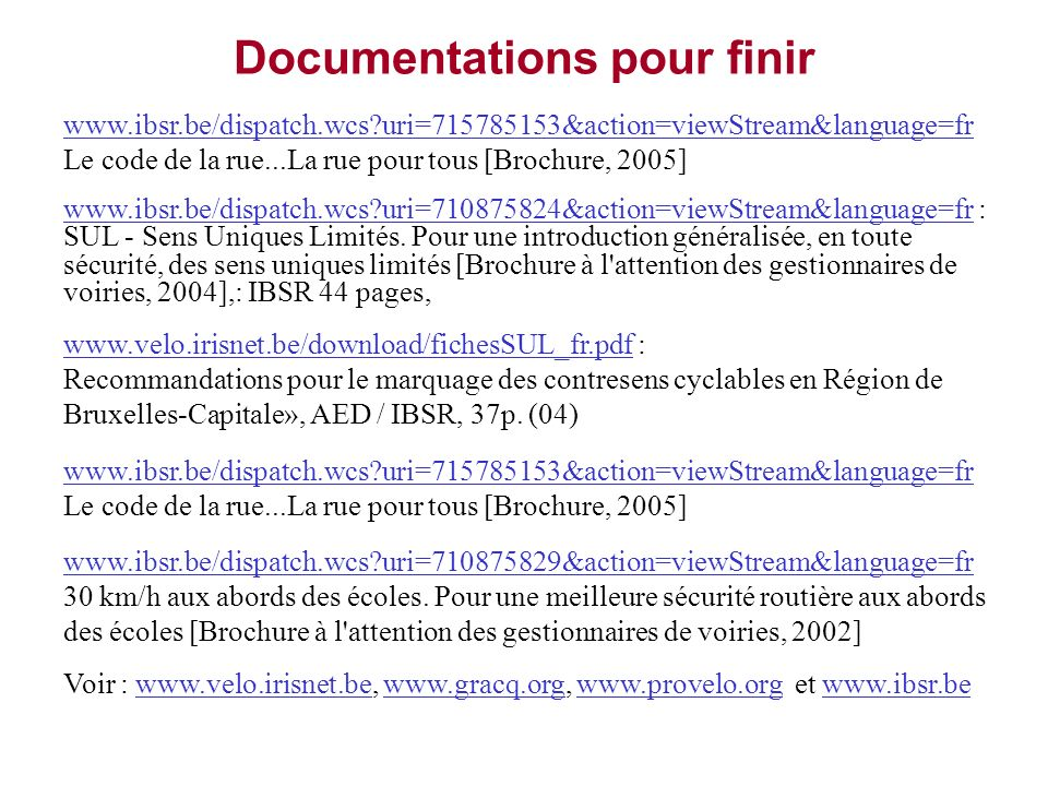 Documentations pour finir
