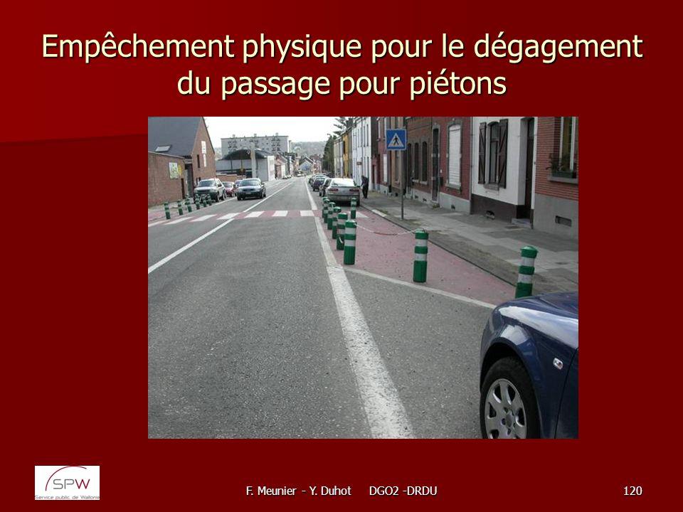 Empêchement physique pour le dégagement du passage pour piétons