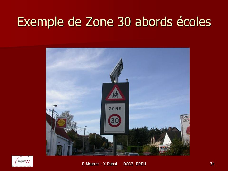 Exemple de Zone 30 abords écoles