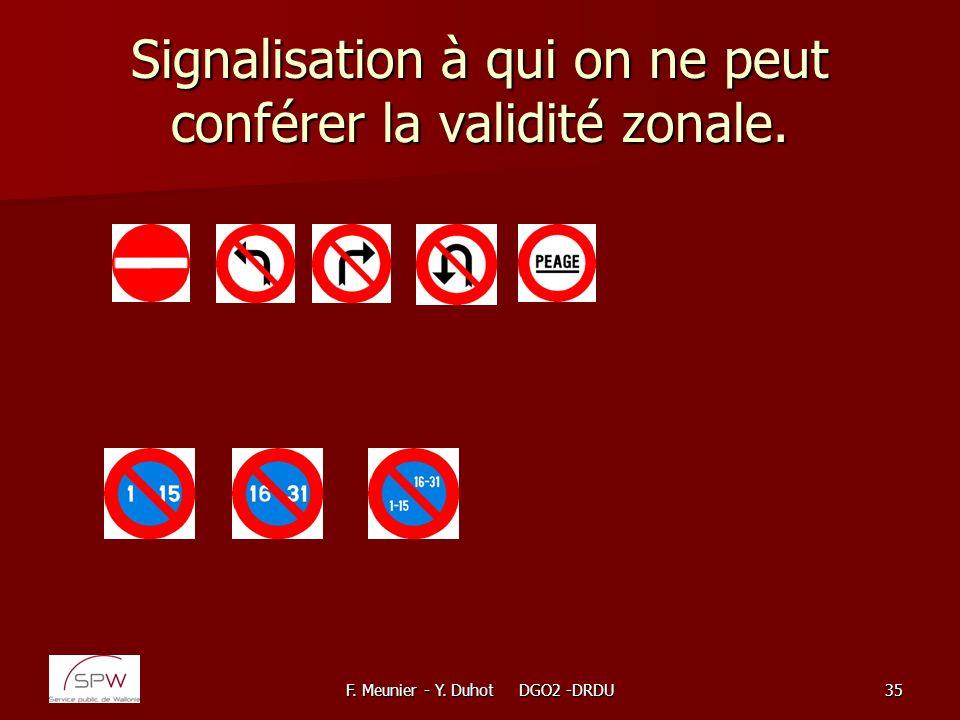 Signalisation à qui on ne peut conférer la validité zonale.