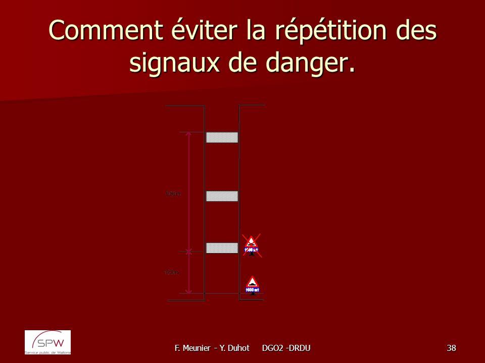 Comment éviter la répétition des signaux de danger.