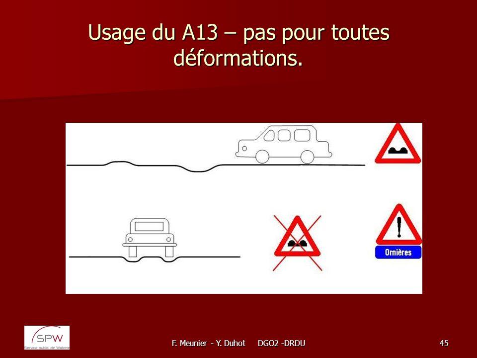 Usage du A13 – pas pour toutes déformations.
