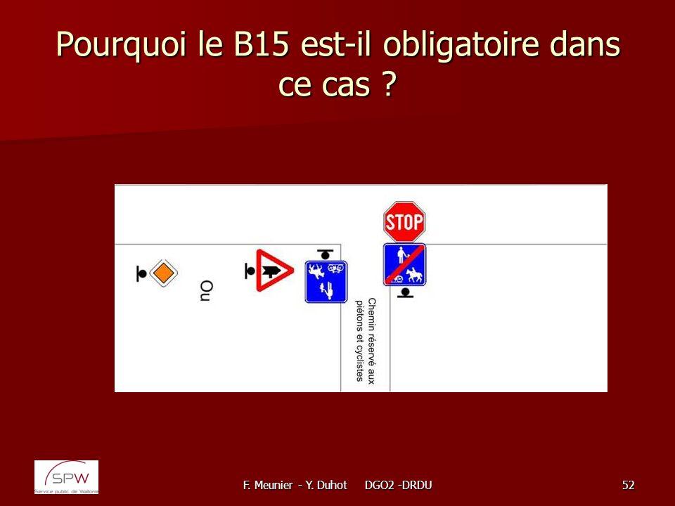 Pourquoi le B15 est-il obligatoire dans ce cas