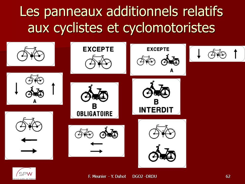 Les panneaux additionnels relatifs aux cyclistes et cyclomotoristes