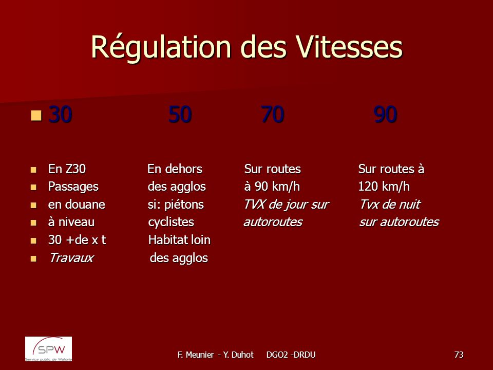 Régulation des Vitesses