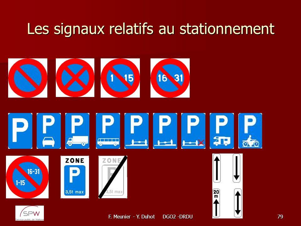 Les signaux relatifs au stationnement