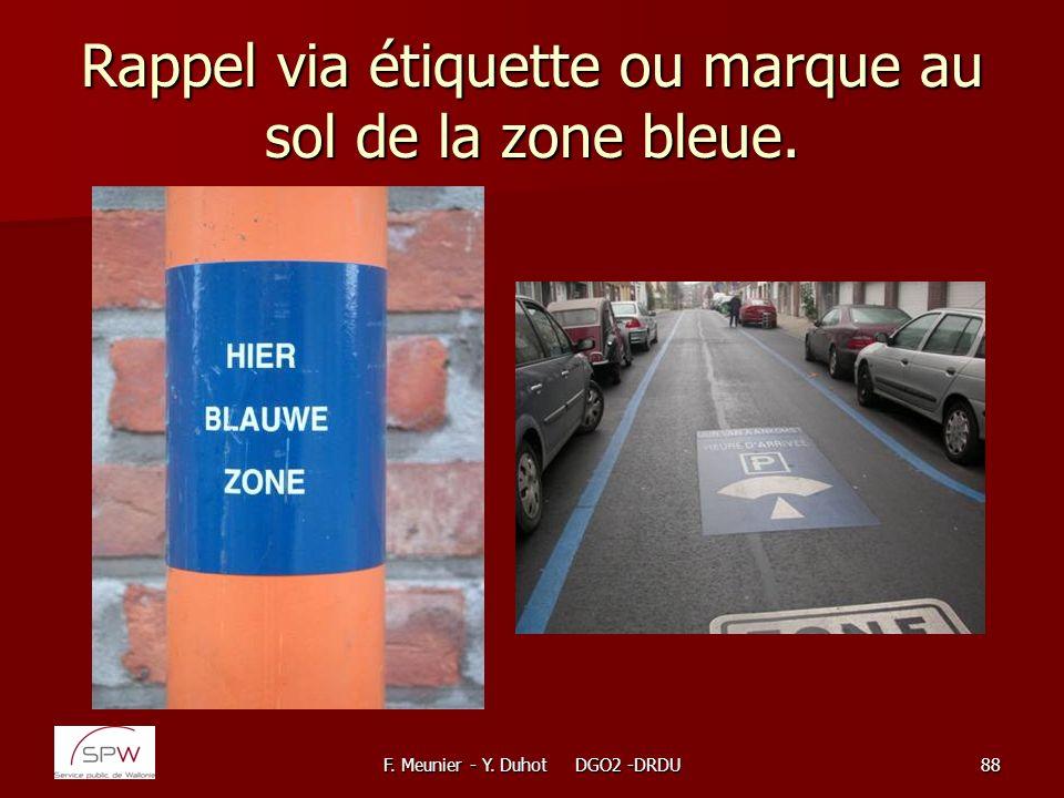 Rappel via étiquette ou marque au sol de la zone bleue.