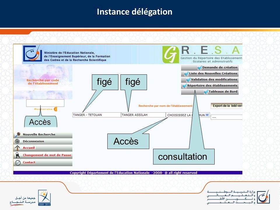 Instance délégation figé figé Accès Accès consultation