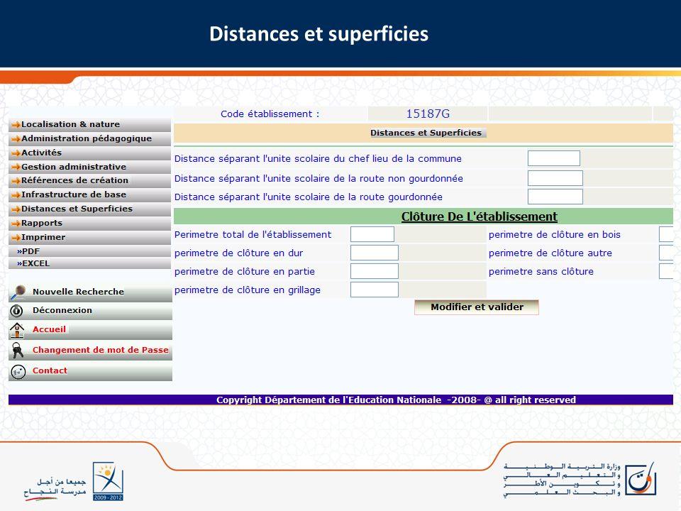 Distances et superficies