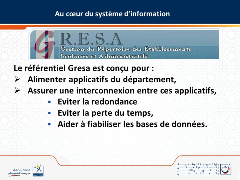 Le référentiel Gresa est conçu pour :